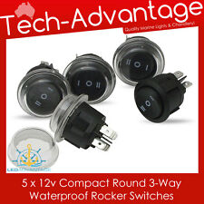 5 X 12V WATERPROOF 3-WAY ROUND ON/OFF/ON ROCKER SWITCHES - BOAT/CARAVAN/4X4