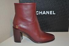 98b78742b8e5c2 NIB CHANEL 16A Burgundy Leather CC High Block Heel Short Ankle Boot Bootie  35.5