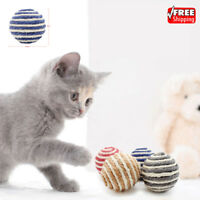 New Cute Cat Sisal Ball Kitten Teaser Chew Toy Pet Scratch Lot Colorful Playing