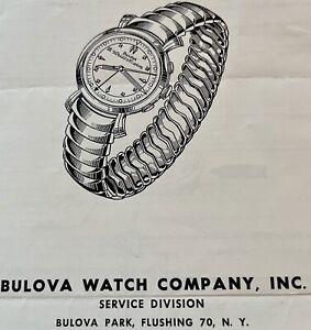 Original vintage Bulova Wrist Alarm watch Service Manual models 89 & 12B parts