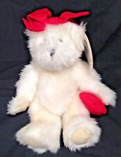 "Hallmark Emily Bear White 8"" Heart Red Bow With Tags"