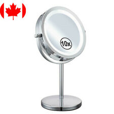 7-Inch LED Light Makeup Vanity Mirror, 1x/10x Magnification, Battery Operated