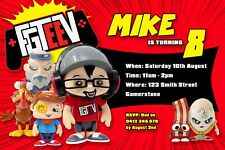 FGTeeV Invitation Family Gaming Invite Birthday Party Dud Gurkey FGTV Youtube