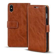 Funda de Móvil Apple IPHONE X 10 Funda Plegable Polipiel Cartera Funda Braun