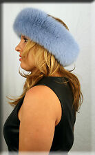 New Powder Blue Fox Fur Headband 26 Inches Long and 5 Inches Wide - Efurs4less