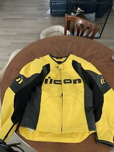 Icon overlord prime leather motorcycle performance Jacket. Yellow And Black.