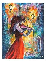 ACEO woman music red dress 4 x 6 matted miniature original painting artcard sign