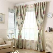 100x250cm Owl Pattern Voile Curtain Drapes Living Room Kids Bedroom Green