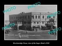 OLD LARGE HISTORIC PHOTO OF BRECKENRIDGE TEXAS, VIEW OF THE SAGER HOTEL c1920