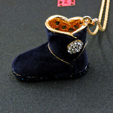 Betsey Johnson Blue Rhinestone Snow Boots Crystal Pendant Chain Necklace Gift