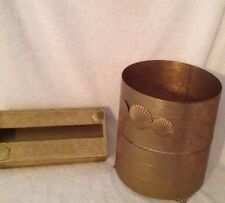 Vintage Gold Filigree Wastebasket And Tissue Holder set