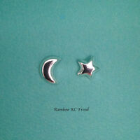 925 Sterling Silver Moon Crescent/ Star Kids Girl Women Stud Earrings Jewellery