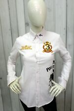 RALPH LAUREN Camicia Donna Taglia L Bianco Shirt Casual Chemise Manica Lunga