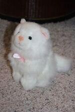 "ZANY BRAINY Plush RARE HTF White Kitten Cat Kitty Pink Nose Bow Ears 6""  #P2"