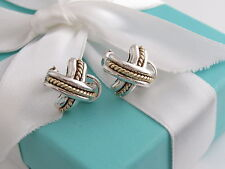 Auth Tiffany & Co Silver 18K Gold Signature X Pierced Earrings
