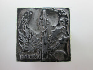 Burning Candle Christmas Greeting Letterpress Printing Block 13/16 by 13/16