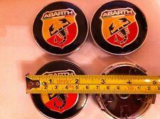 ABARTH FIAT ALLOY WHEELS CENTER CAPS SET (4) Face 60mm Clip 58mm