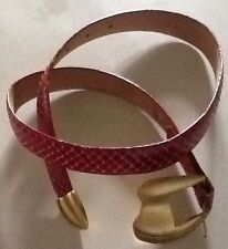 Women's SOUTH BEACH EXOTICS Red Genuine Whipsnake Belt Size M Runs Small