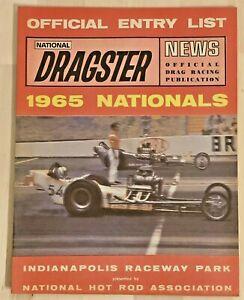 Vintage 1965 NHRA National Hot Rod Association Dragster Entry List Raceway Park