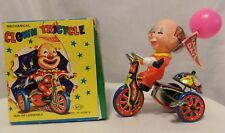 Vintage Mechanical Clown Tricycle With Wind-up Key & Revolving Bell Original Box