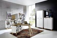 Schreibtisch mit integriertem Sideboard Weiß/Absetzungen Sanremo