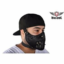 Black Leather Biker Face Mask With Spikes - free shipping