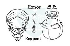 CUTE TROOP-The Greeting Farm Rubber Stamp-Stamping Craft-Anya-Ian-Boy/Girl Scout