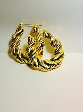 "LARGE 4"" GOLD RETRO CHUNKY TRAPEZOID BAMBOO DOOR KNOCKER 80's HOOP EARRINGS"