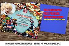 Personalised boys Birthday Party Invitations Marvel Heroes,super hero,avenger 8