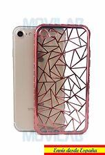 Funda carcasa luxury gel / TPU Apple Iphone 7 cristales 3D rosa metalizado