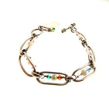 """Sterling Silver Pearl and Crystal Link Toggle Bracelet 10 mm 7.5"""""""