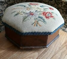 VINTAGE OCTAGONAL WOOD FOOT STOOL/SEWING BOX HANDMADE TAPESTRY CROSS STITCH TOP