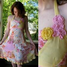 Biscotti Quilted Cotton Floral Hippie Sun Dress Halter India Tribal Fabric Xs S