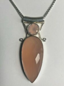 Pink Chalcedony Two Stone Pendant 925 Solid Sterling Silver New !!! Beautiful!!