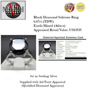 6.67ct (12.7mm)  Black Diamond Solitaire Ring - Size 7 (US$3535 Appraisal)