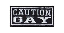 Caution Gay Biker Heavy Rocker Patch Aufnäher Kutte Bügelbild Pride Christopher