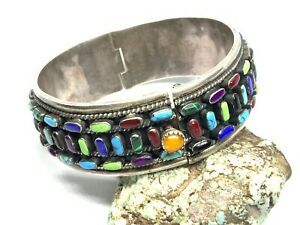 Southwest Mexico Sterling Silver Multi-Stone Hinged Wide Cuff Bracelet (57.3g)