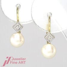 OHRHÄNGER -2 Diamanten ca. 0,06 ct & 2 Perlen Ø 6,5 mm - 14K/585 Weiß-& Gelbgold