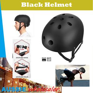 AU Black Bike & Skate Helmet 3 Sizes Safety Kids Youth Adult Skateboard Scooter