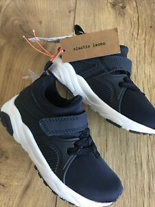 Next Boys Navy Trainer Shoes . Size 7 . Elastic Laces . New . RRP 21