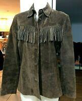 EARLY 2000 Alfani BROWN Suede Leather Fringe Jacket/Shirt Womens Size Medium M