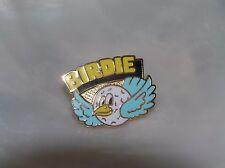 White Enamel & Goldtone Golf Ball Birdie Estate C. Sander Signed Yellow Blue &