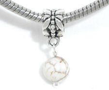 Blanco Turquesa Piedra Semipreciosa Bola Colgante Charm para Europeo Pulseras