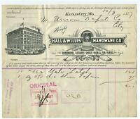 1887 GRAPHIC EARLY KANSAS CITY MISSOURI BILLHEAD HALL AND WILLIS HARDWARE