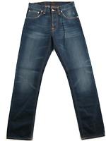 Nudie Herren Regular Straight Fit Bio Denim Jeans Hose Average Joe Clean Blue