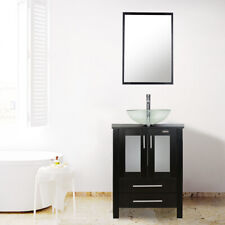"24"" Black Bathroom Vanity W/Clear Glass Vessel Sink Set Green Faucet Orb Drain"