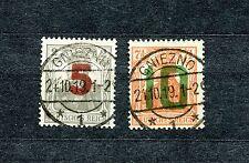 POLAND 1919 GNIEZNO GERMANIA OVERPRINT ISSUE SET SCOTT 77-78 VFU SEE SCAN (2)