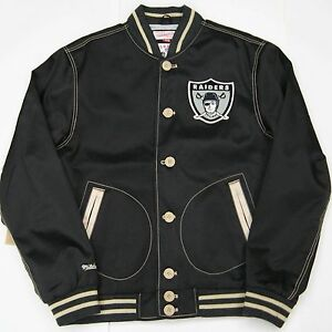Oakland Raiders Authentic Mitchell and Ness NFL Tailored Fit Jacket Size Large