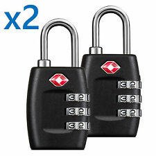 BG TSA Approved Lock Travel Luggage 3 Combination Resettable Padlock TL01-PAIR