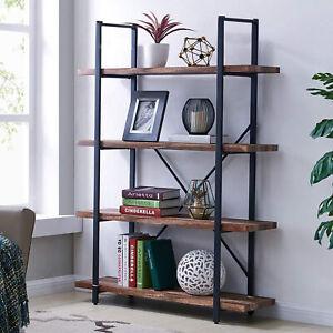 Industrial Bookcase Rustic Shelf Unit Metal Storage Display Cabinet Wood Shelves